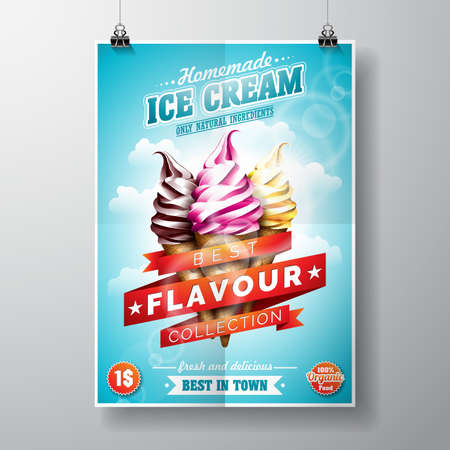 Delicious Ice Cream Design on sky background Ilustrace