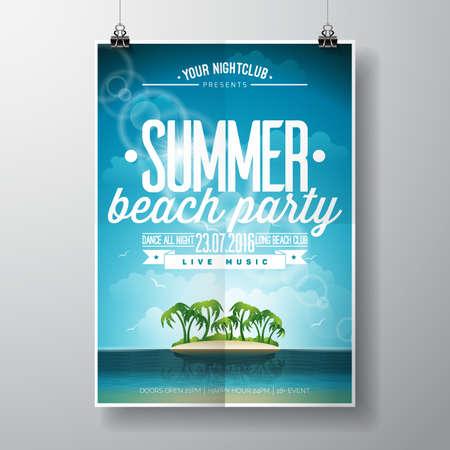 Sommer-Strand-Party-Entwurf mit typografischen Elementen auf Ozean Landschaft Hintergrund. Illustration. Vektorgrafik