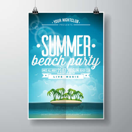 Summer Beach Party Design with typographic elements on ocean landscape background. illustration.