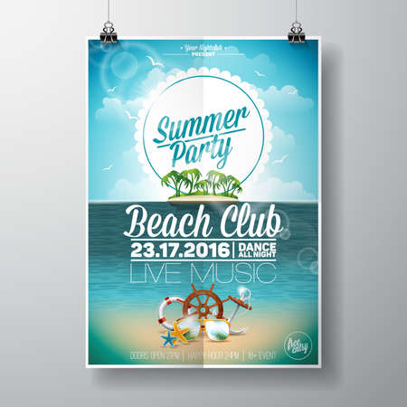 beach party: Summer Beach Party Design with typographic elements on ocean landscape background. illustration.