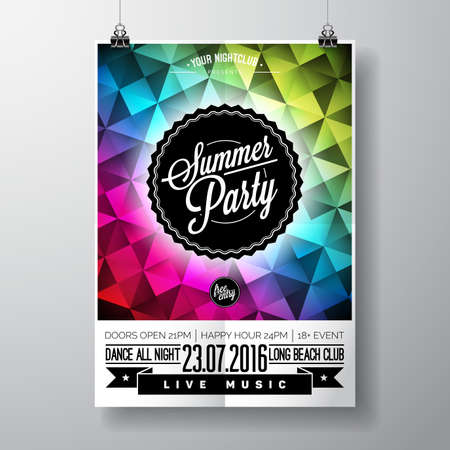 Summer Beach Party Design with typographic elements and copy space on color triangle background. illustration.