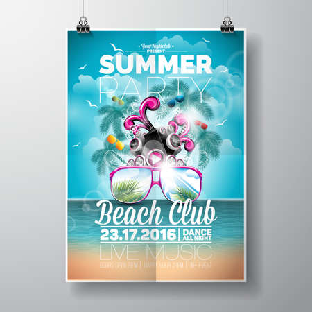 Summer Beach Party Design with typographic and music elements on ocean landscape background. illustration. Stock Illustratie