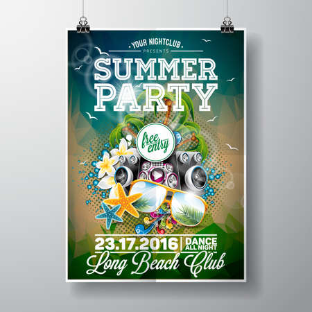 beach sunset: Summer Beach Party Design with typographic and music elements on ocean landscape background. illustration. Illustration