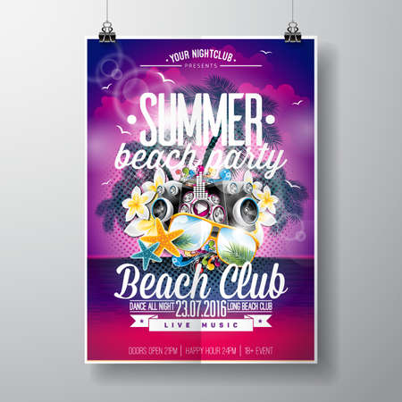 beach party: Summer Beach Party Design with typographic and music elements on ocean landscape background. illustration. Illustration