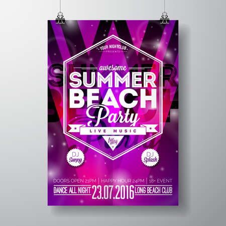 beach party: Party poster template on Summer Beach theme with abstract shiny background.