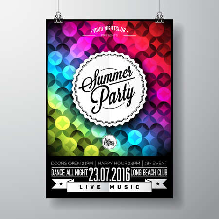 beach party: Summer Beach Party Design with typographic elements and copy space on color triangle background. Illustration
