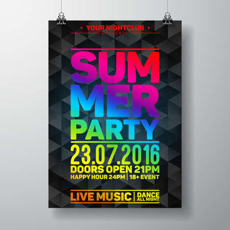 DAnce background: Summer Beach Party Design with typographic elements on dark triangle background.