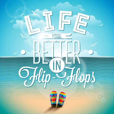 flipflops: Life is better in flip-flops inspiration quote on seascape background. typography design element for greeting cards and posters. Illustration