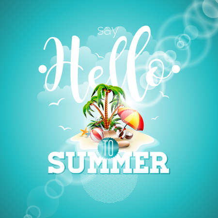 say hello: Say Hello to Summer inspiration quote paradise island on blue background. Illustration