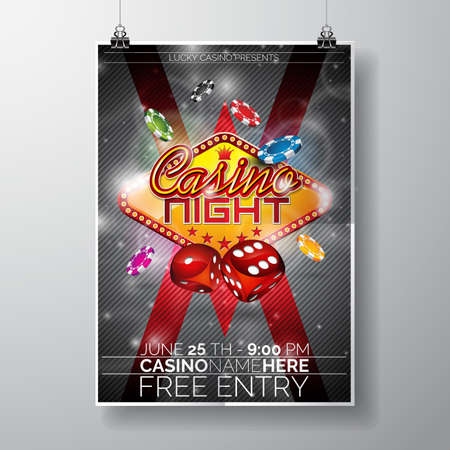 chips: Vector Party Flyer design on a Casino theme with chips and dices on black background. Illustration