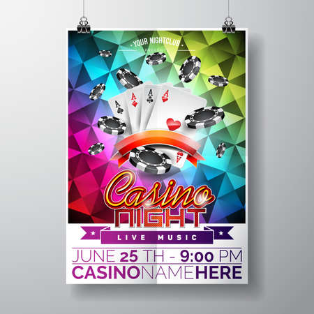 Vector Party Flyer design on a Casino theme with chips and game cards on color triangle background. Illustration
