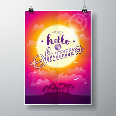 say: Say Hello to Summer inspiration quote on seascape background. Illustration