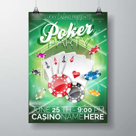 game cards: Vector Party Flyer design on a Casino theme with chips and game cards on green background.