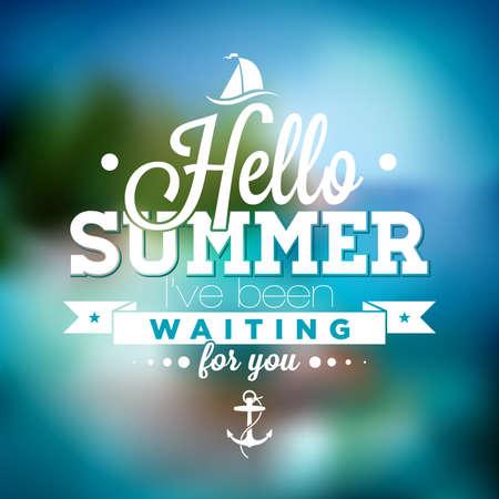 de zomer: Hallo Summer, ik heb op je gewacht inspiratiecitaat op vage oceaan landschap achtergrond.
