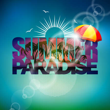 sunshade: Vector illustration on a summer holiday theme with sunshade on blurred background.