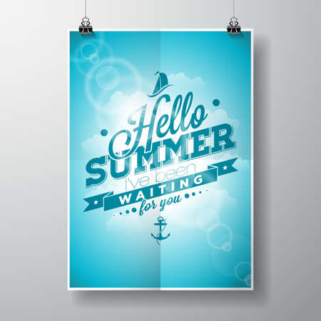 summer sky: Hello Summer, ive been waiting for you inspiration quote on blue sky background.