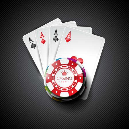 Vector illustration on a casino theme with color playing chips and poker cards on dark background.