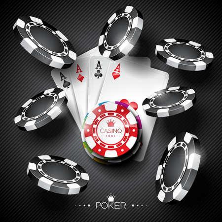 Ilustración vectorial sobre un tema de casino con fichas de color de juego y cartas de póquer en el fondo oscuro. Ilustración de vector