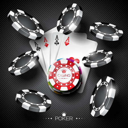 wining: Vector illustration on a casino theme with color playing chips and poker cards on dark background.