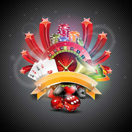Vector illustration on a casino theme with croulette wheel and poker cards on dark background.