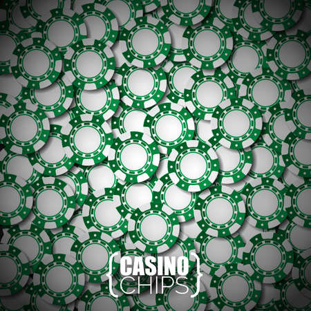 wining: Vector illustration on a casino theme with green playing chips. Eps 10 design.