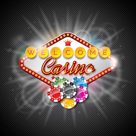 wining: Vector illustration on a casino theme with color playing chips and lighting display on dark background.