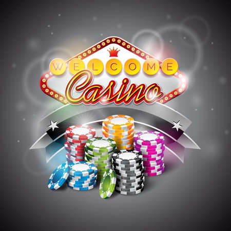 wining: Vector illustration on a casino theme with color playing chips and lighting display dark background.