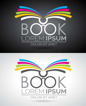 Vector book logo illustration. Icon template for education or company.