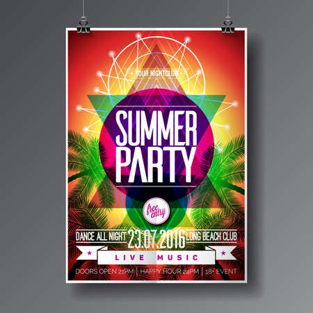Vector Summer Beach Party Flyer Design met typografische elementen op abstracte palm achtergrond.