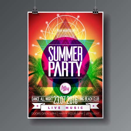 de zomer: Vector Summer Beach Party Flyer Design met typografische elementen op abstracte palm achtergrond.