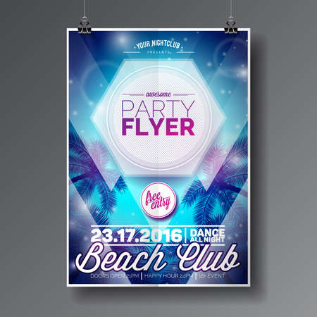 Vector Summer Beach Party Flyer Design with typographic elements on abstract palm background. Eps10 illustration. 矢量图像