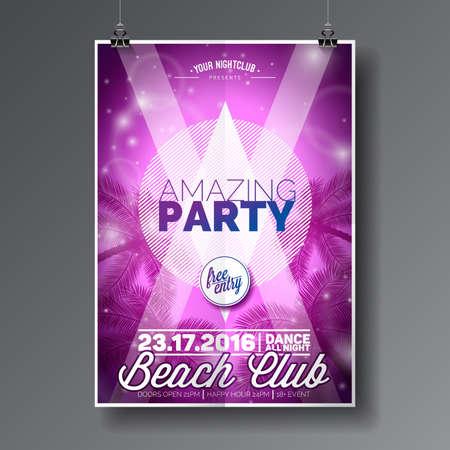 party design: Vector Summer Beach Party Flyer Design Illustration