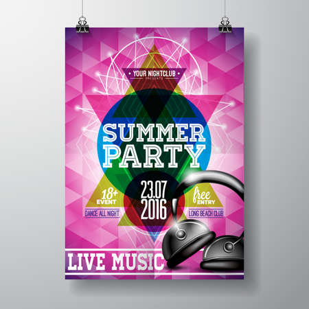 flyer background: Vector Summer Beach Party Flyer Design Illustration