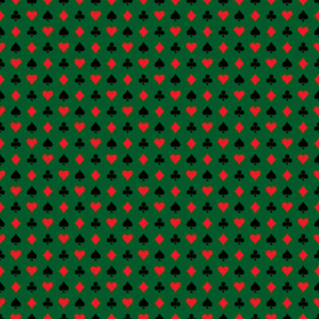 playing card symbols: Vector seamless casino pattern illustration with playing card symbols on dark green background.