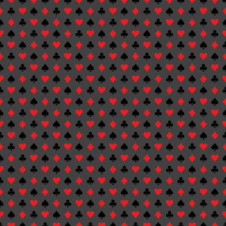 playing card symbols: Vector seamless casino pattern illustration with playing card symbols on grey background. EPS 10 design. Illustration