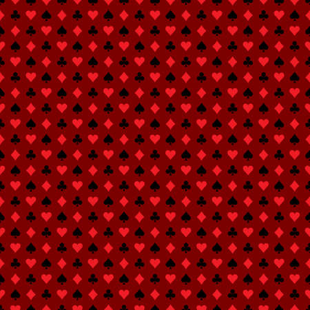 playing card symbols: Vector seamless casino pattern illustration with playing card symbols on dark red background. EPS 10 design.