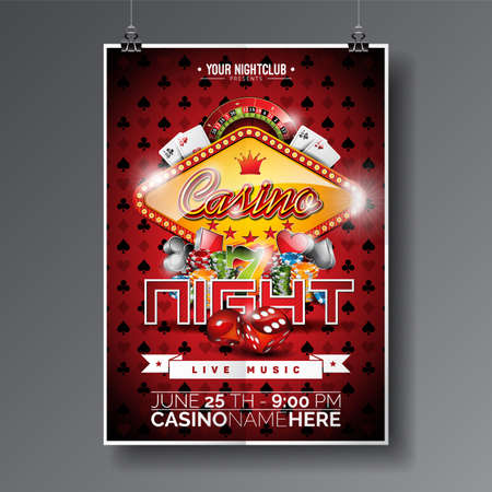 Vector Party Flyer design on a Casino theme with chips and game cards on dark symbols background.