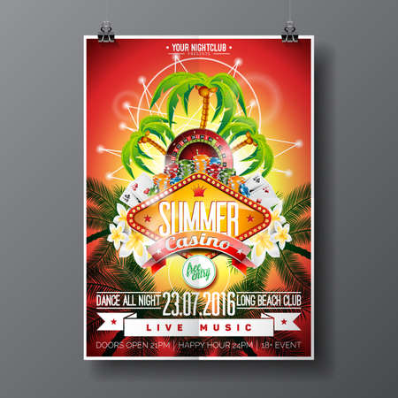 Vector Party Flyer design on a Casino theme with roulette wheel and game cards on palm background. Illustration