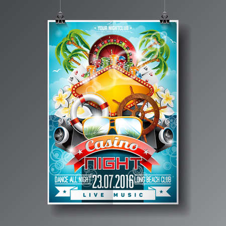 Vector Party Flyer design on a Casino theme with roulette wheel and summer elements on ocean landscape background.