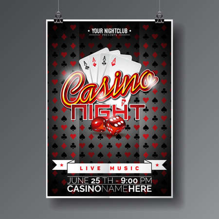 Vector Party Flyer ontwerp op een thema casino spel kaarten en dobbelstenen op een donkere achtergrond.