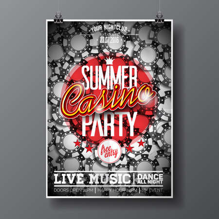party night: Vector Summer Party Flyer design on a Casino theme with chips on dark background.