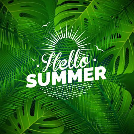 philodendron: Vector Hello Summer typographic illustration with tropical plants on green background.