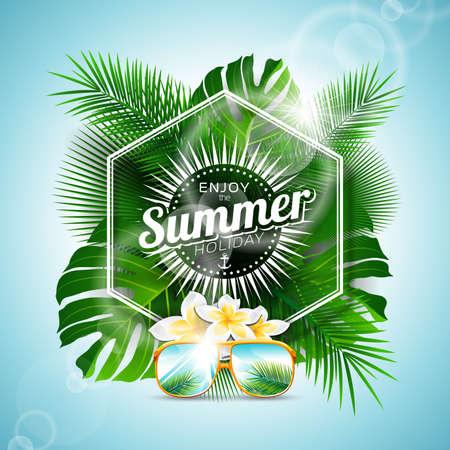 Genießen Sie Vector den Sommerferien typografische Illustration mit tropischen Pflanzen und Blumen auf hellblauem Hintergrund.