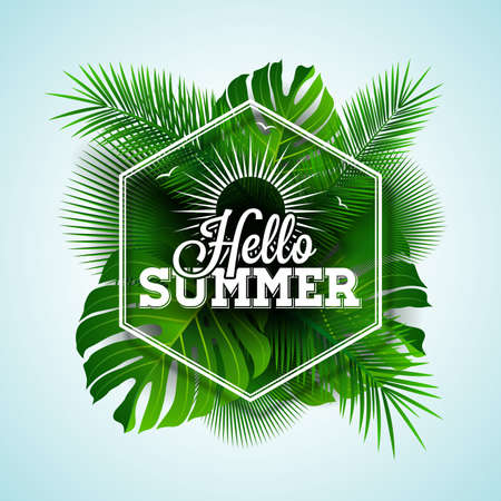 philodendron: Vector Hello Summer typographic illustration with tropical plants on light blue background. Illustration