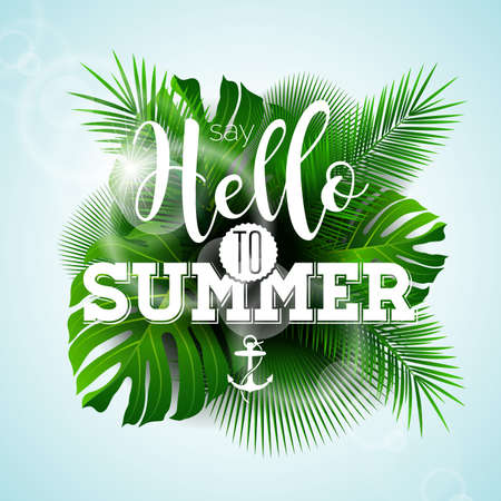 say hello: Vector Say Hello to Summer typographic illustration with tropical plants on light blue background.