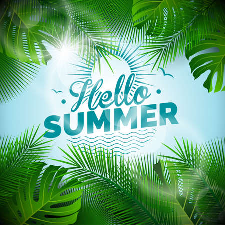 Vector Hello Summer typographic illustration with tropical plants on light blue background. Ilustracja