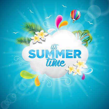 Es ist Sommerzeit Ferien typografische Illustration mit tropischen Pflanzen, Blumen und Heißluftballon auf blauem Hintergrund.
