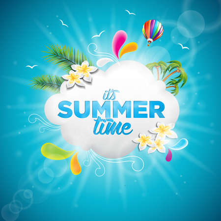 It's Summer Time Holiday typographic illustration with tropical plants, flower and hot air balloon on blue background.