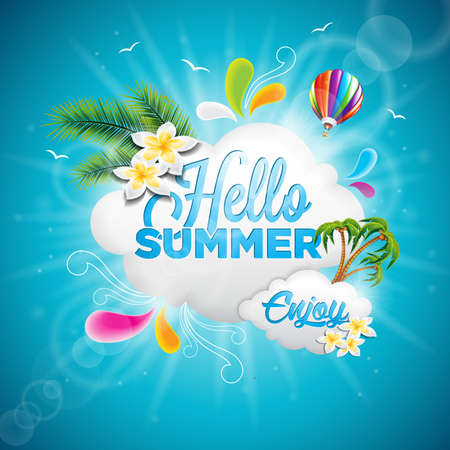 Hello Summer Holiday typographic illustration with tropical plants, flower and hot air balloon on blue background. Vectores