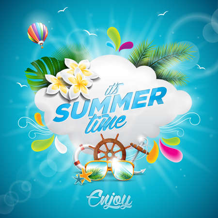 Hello Summer Holiday typographic illustration with tropical plants, flower and hot air balloon on blue background. Illustration